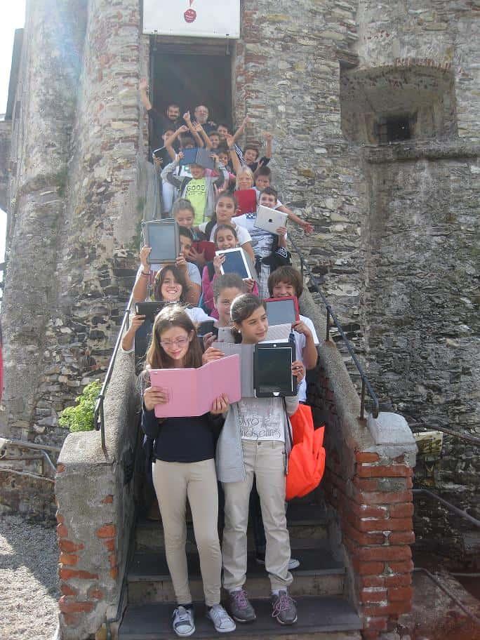 La 1 B al castello di Rapallo con Enrico Macchiavello e Carlo Chendi